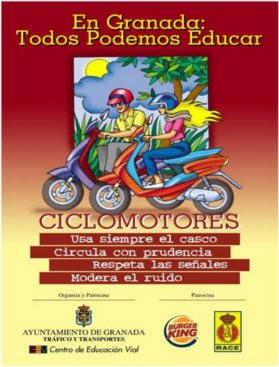 In Granada, everybody can teach. Always use the helmet. Drive safety. Respect traffic signs. Slow the noise