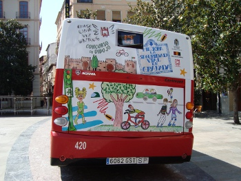 Back of a bus. Once upon a time a bus. Drawing contest. Improve the road safety in Granada.