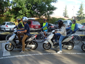 Motorbikes conferences Granada 2013. Learners in the road safety circuit