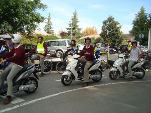 Bike Conferences Granada 2013. Learners in road safety circuit. Bikes and Motorcycles