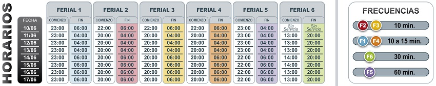 Schedules bus lines to Ferial 2017