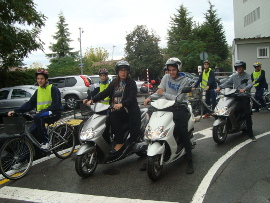María Francés in the road safety circuit at the motorbikers conferences
