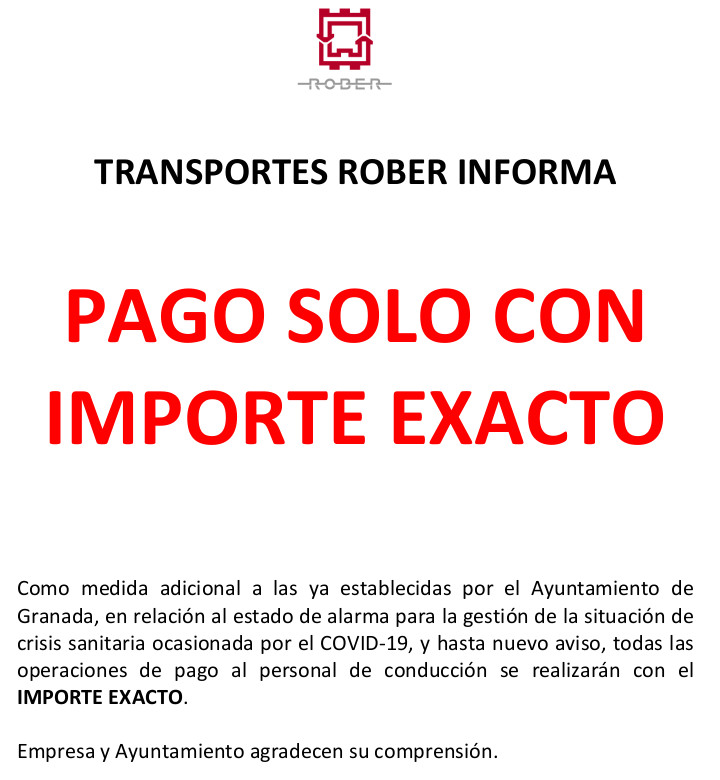 payment with exact value urban bus granada covid19
