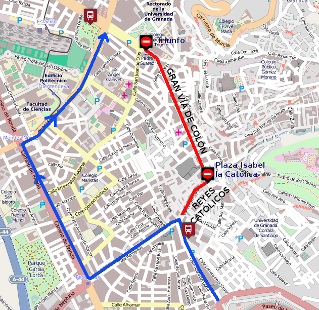 Diversion due to traffic cuts in Puerta Real or Recogidas