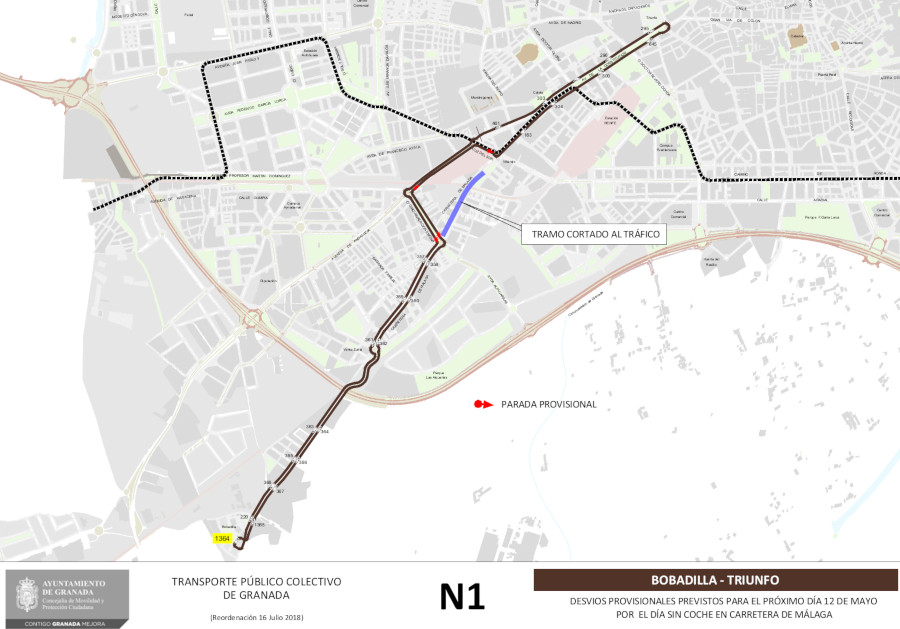 bus line N1 detour granada sunday car free day chana