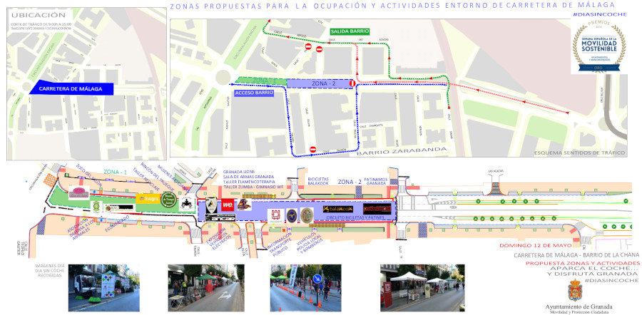 map activities granada Sunday Car Free Day Chana