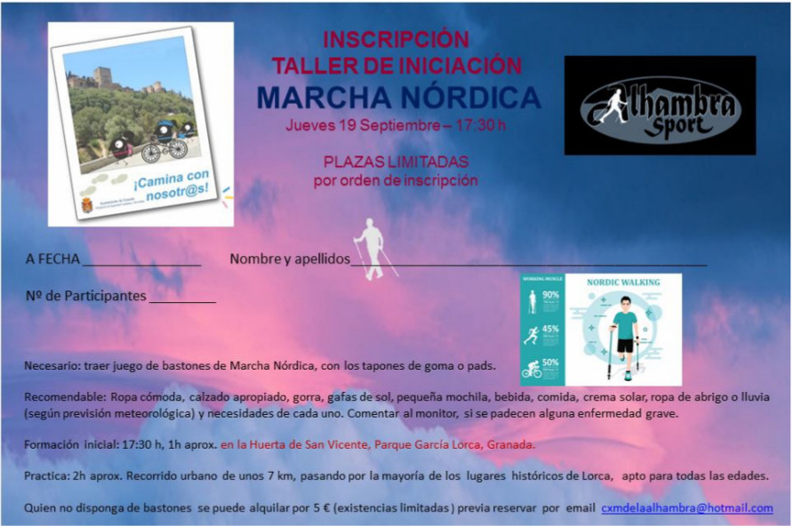 inscripcion ruta lorquiana granada semana europea de la movilidad marcha nordica